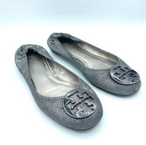 Tory Burch Reva Ballet Flats - Metallic Silver